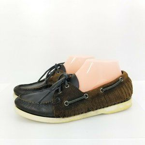 Ronnie Fieg by Sebago Fringe Leather Suede Loafer